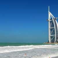 Seashore and the Burj Al Arab Jumeirah in Dubai, United Arab Emirates - UAE