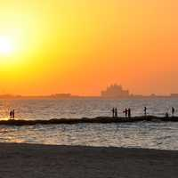Sunset at the Beach in Dubai, United Arab Emirates, UAE
