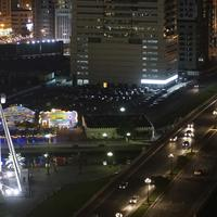Eye of the Emirates and the Al Qasba Canal by night in Sharjah, United Arab Emirates