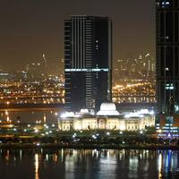 Night view of the New Sharjah Chamber of Commerce in the United Arab Emirates