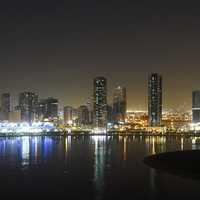 Panoramic view of the Al Khan Lagoon in Sharjah, United Arab Emirates