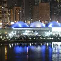 Panoramic view of the Expo Centre Sharjah by night in the United Arab Emirates