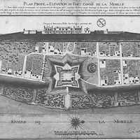 Mobile and the pentagonal Fort Condé in 1725 in Alabama
