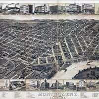 Bird's Eye View of Montgomery in 1887, Alabama