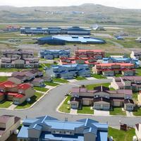 Cityscape of the town and houses in Adak, Alaska