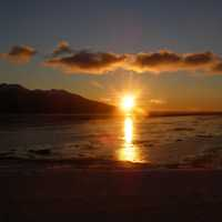 Sunset over the waters at Anchorage, Alaska