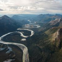 River Valley and Mountain Landscape in Gates of the Arctic National Park