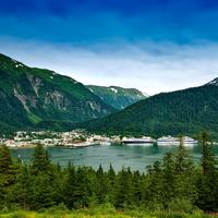Mountain landscape and the town of Juneau in Alaska