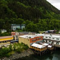 Town of Juneau and buildings under the mountain in Alaska