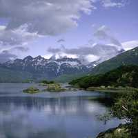 Landscape of the Mountains and Lake in Katmai National Park, Alaska