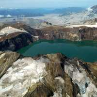 Crater lake and Katmai Volcano in Katmai National Park, Alaska