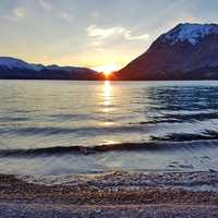 Sunset over upper twin lake at Lake Clark, Alaska