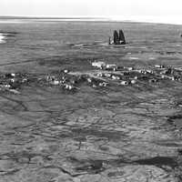 Aerial view of Kaktovik and Barter Island LRRS in Alaska