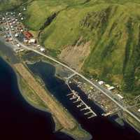 Aerial view of Old Harbor landscape in Alaska