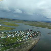Aerial View on the wing of the landscape of Unalakleet, Alaska