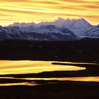 Dusk with scenic Mountains in Alaska