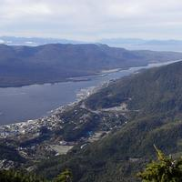 Panorama of downtown Ketchikan and surrounding terrain from the peak of Deer Mountain, Alaska