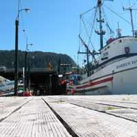 Fishing boat at Wrangell dock in Alaska