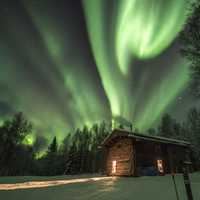 Green Northern Lights across the sky