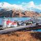 Hilltop view of Unalaska in January in Alaska