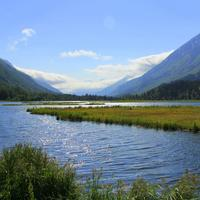 Landscape with river and mountains in Alaska