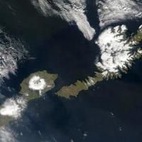 Satellite shot of the islands of Umnak and Unalaska, Alaska