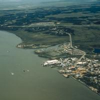 Shoreline and the town of Dillingham, Alaska