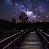Sunset Crater Volcano, Lava Flow Trail with Milky Way Galaxy