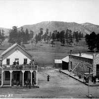 View of Post Office and other buildings on Terrace Street in Flagstaff, Arizona