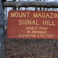 Sign at the top of Signal Hill at Mount Magazine, Arkansas