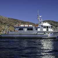 NOAA Shearwater Boat off Santa Cruz Island in Channel Islands National Park, California