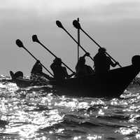 People rowing a canoe in Channel Islands National Park, California