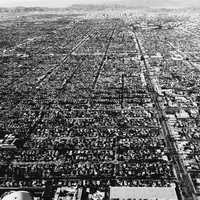 Black and white view of Los Angeles from the Wing