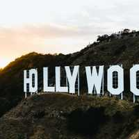 Hollywood on a hill above Los Angeles, California