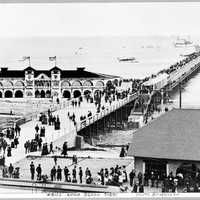 Long Beach pier, 1905 with people and buildings in the Greater Los Angeles Area, California