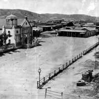 Los Angeles Plaza in 1869 in California