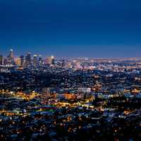 Night Lights in Los Angeles, California and cityscape