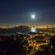 Night Time Cityscape view of Oakland-San Francisco Bay Bridge with sky and moon in California