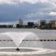 View of Lake Merritt and fountain in Oakland, California