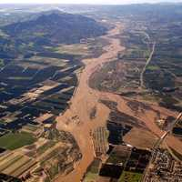Aerial photo of Santa Clara River during flood