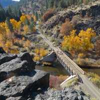 Bridge and landscape in the Autumn in California
