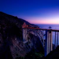 Dusk with bridge over the landscape in Big Sur, California