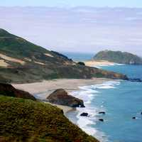 Point Sur and light station from the north in Big Sur, California