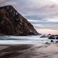 Rocky shoreline landscape in Big Sur, California
