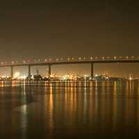 Bridge and skyline at night in San Diego, California