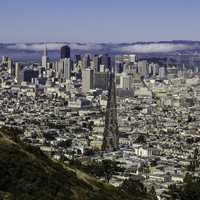 Cityscape of San Francisco from Twin Peaks in California