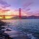 Dusk over the Golden Gate Bridge in San Francisco, California