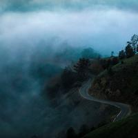 Road on the hill in the fog in San Jose, California