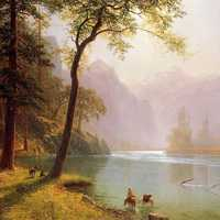 Beautiful River Valley Landscape Painting in Sequoia National Park, California