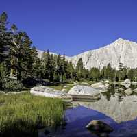 Landscape of Muir Lake in Sequoia National Park, California